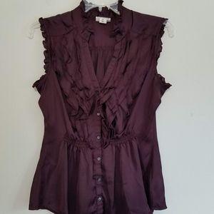 Converse Purple Ruffle Front Sleeveless Blouse